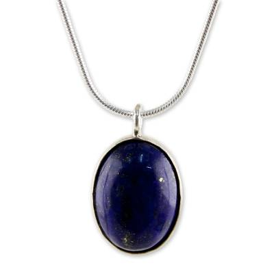Sterling Silver and Lapis Lazuli Pendant Necklace Thailand