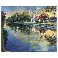 'Chiang Mai City Moat' - Impressionist Painting of a Blue Moat from Thailand