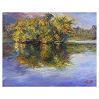 'Ang Kaew in Winter' - Impressionist Painting of a Blue Reservoir from Thailand