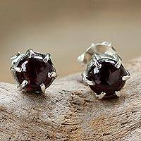 Garnet stud earrings, 'To the Point' - Sterling Silver and Garnet Stud Earrings from Thailand