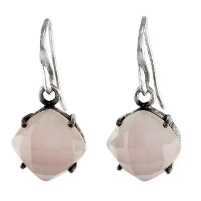 Gold Accent Pink Chalcedony Dangle Earrings from Thailand