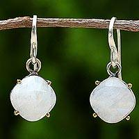 Gold accent rainbow moonstone dangle earrings,