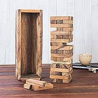 Wood stacking game, 'Tower of Fun' - Hand Made Wood Stacking Tower Game from Thailand