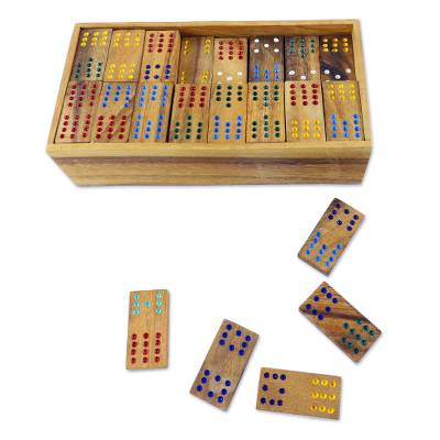 Wood domino set, 'Colorful Dominoes' - Colorful Rain Tree Wood Domino Set Game from Thailand