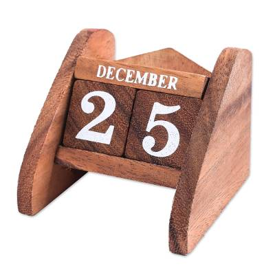 Wood desk calendar, 'Time Catcher' - Hand Made Wood Decorative Desk Calendar from Thailand