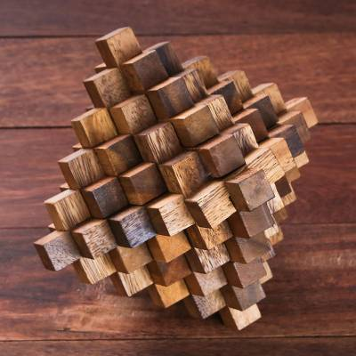 Wood puzzle, 'The Great Meteor' - Rain Tree Wood Interlocking Puzzle from Thailand