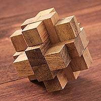 Wood puzzle, 'Diamond Cube' - Hand Made Wood Puzzle Game Geometric from Thailand