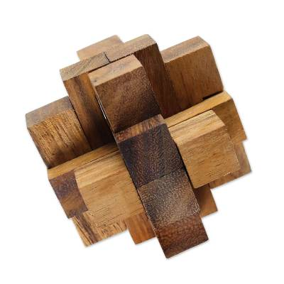 Hand Made Wood Puzzle Game Geometric from Thailand
