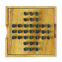 Wood game, 'Elimination' - Hand Made Wood Peg Game Teal from Thailand