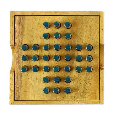 Hand Made Wood Peg Game Teal from Thailand