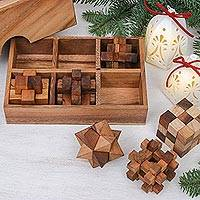 Wood puzzles, 'Logical Mind' (set of 6) - Handcrafted Set of Six Wooden Puzzles from Thailand