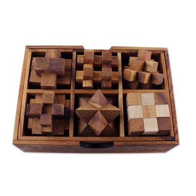 Handcrafted Set of Six Wooden Puzzles from Thailand
