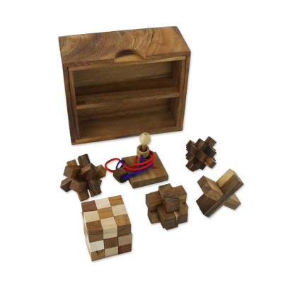 Handmade Set of Six Mini Wooden Puzzles from Thailand