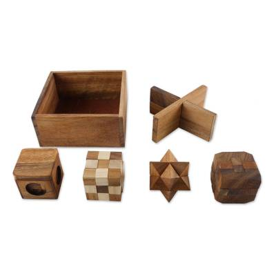 Handmade Set of Five Wooden Puzzles from Thailand