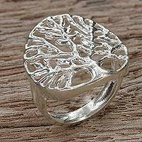 Sterling silver cocktail ring, 'Home Tree' - Sterling Silver Tree Cocktail Ring from Thailand