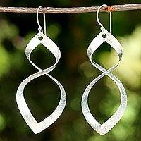 Sterling silver dangle earrings, 'Infinite Life' - Sterling Silver Wave Motif Dangle Earrings from Thailand