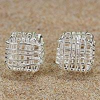 Sterling silver stud earrings, 'Open Boxes' - Sterling Silver Openwork Stud Earrings from Thailand