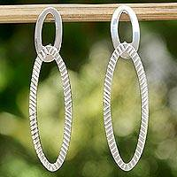Sterling silver drop earrings, 'Oval Texture' - Patterned Sterling Silver Oval Drop Earrings from Thailand