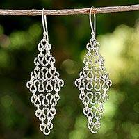 Sterling silver dangle earrings, 'Diamond Chains' - Sterling Silver Chain Dangle Earrings from Thailand