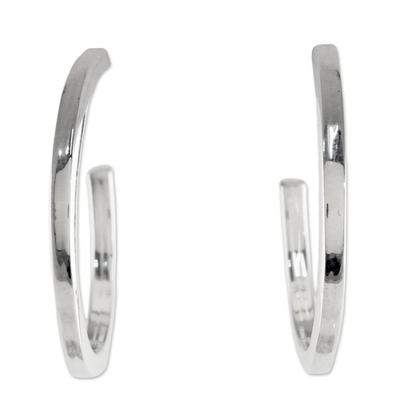 Sterling Silver Half Hoop Earrings from Thailand