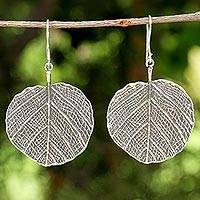 Sterling silver dangle earrings, 'Pho Leaf' - Sterling Silver Leaf Dangle Earrings from Thailand