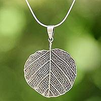 Sterling silver pendant necklace, 'Pho Leaf' - Sterling Silver Leaf Pendant Necklace from Thailand