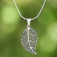 Sterling silver pendant necklace, 'Charming Leaf' - Sterling Silver Leaf Pendant Necklace from Thailand