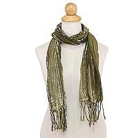 Batik tie-dyed cotton scarf, 'Speckled Field in Olive' - Batik Tie-Dyed Cotton Scarf in Olive Green from Thailand