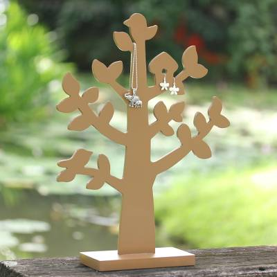 Wood jewelry tree, 'Bird Habitat in Tan' - Wood Jewelry Tree with Bird in Tan from Thailand