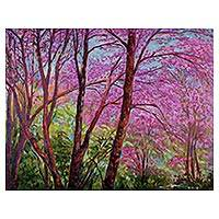 'The Rosaceae' (2016) - Signed Stretched Impressionist Painting of Floral Trees