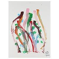 Elephant painting, 'The Jungle Art' - Original Multicolored Painting by an Elephant Artist