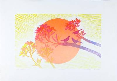 'Sun Light' - Sun and Tree Limited Edition Ink Print from Thailand
