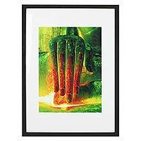 'Spiritual Light II' (Wat Si Chum, Sukhothai) - Framed Color Photograph of Sukhothai Buddha Hand