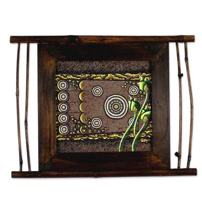 Framed Wood Painting in Brown by an Artist from Thailand