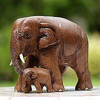 Teakwood sculpture, 'Love and Care in Brown' - Brown Teakwood Sculpture of Mother and Child Thai Elephants