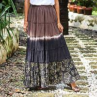 Batik cotton skirt, 'Festive Summer in Brown' - Tie Dye Batik Cotton Skirt in Brown and Coal Black Thailand