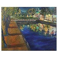 'Midnight in Chiang Mai Moat' - Impressionist Painting of a City Night Scene from Thailand