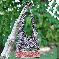 Cotton shoulder bag, 'Dramatic Thai' - Handmade Thai Red and Black Cotton Shoulder Bag