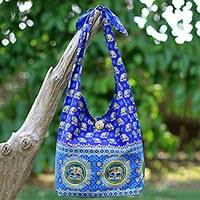 Cotton shoulder bag, 'Royal Thai Elephant' - Handmade Blue Cotton Shoulder Bag with Elephant Motif