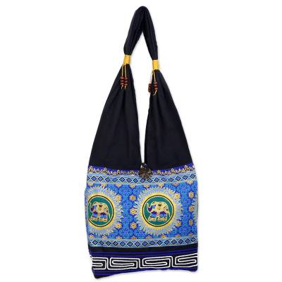 Blue and Black Cotton Blend Shoulder Bag with Elephant Motif