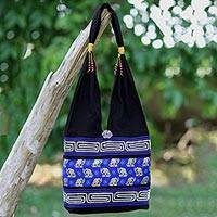 Cotton blend shoulder bag, 'Thai Siam' - Black and Blue Cotton Blend Shoulder Bag from Thailand