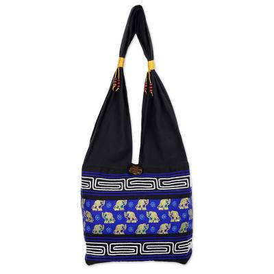 Black and Blue Cotton Blend Shoulder Bag from Thailand