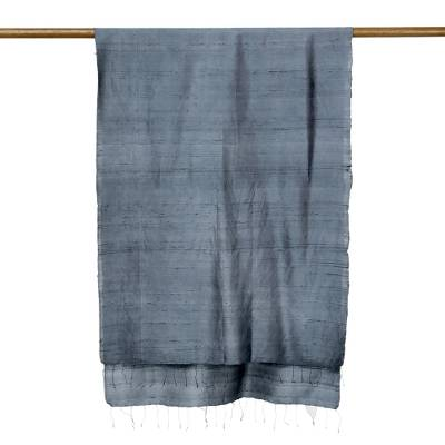 Silk scarf, 'Otherworldly in Iron Grey' - Hand Woven Fringed Silk Scarf in Iron Grey from Thailand