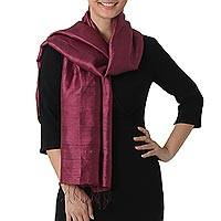 Silk scarf, 'Otherworldly in Magenta' - Hand Woven Fringed Silk Scarf in Magenta from Thailand