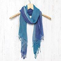 Silk scarf, 'Blue Denim Summer' - Hand Woven Fringed Silk Scarf in Denim Blue from Thailand