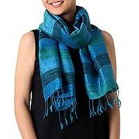 Silk scarf, 'Ocean Stripes' - Hand Woven Striped Silk Scarf in Blue and Green Thailand