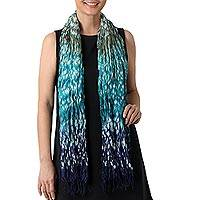 Tie-dyed rayon blend scarf, 'Rainwater' - Rayon Silk Blend Scarf Tie Dye Blue and Teal from Thailand