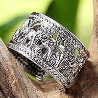 Sterling silver cuff bracelet, 'Forest Activities' - Sterling Silver Elephant Cuff Bracelet from Thailand