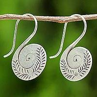 Silver drop earrings, 'Spiral Swan' - Women's Drop Earrings Crafted of Silver with Fern Design