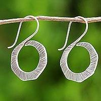 Silver drop earrings, 'Striped Swan' - Thai Silver Drop Earrings in Geometric Shape for Women